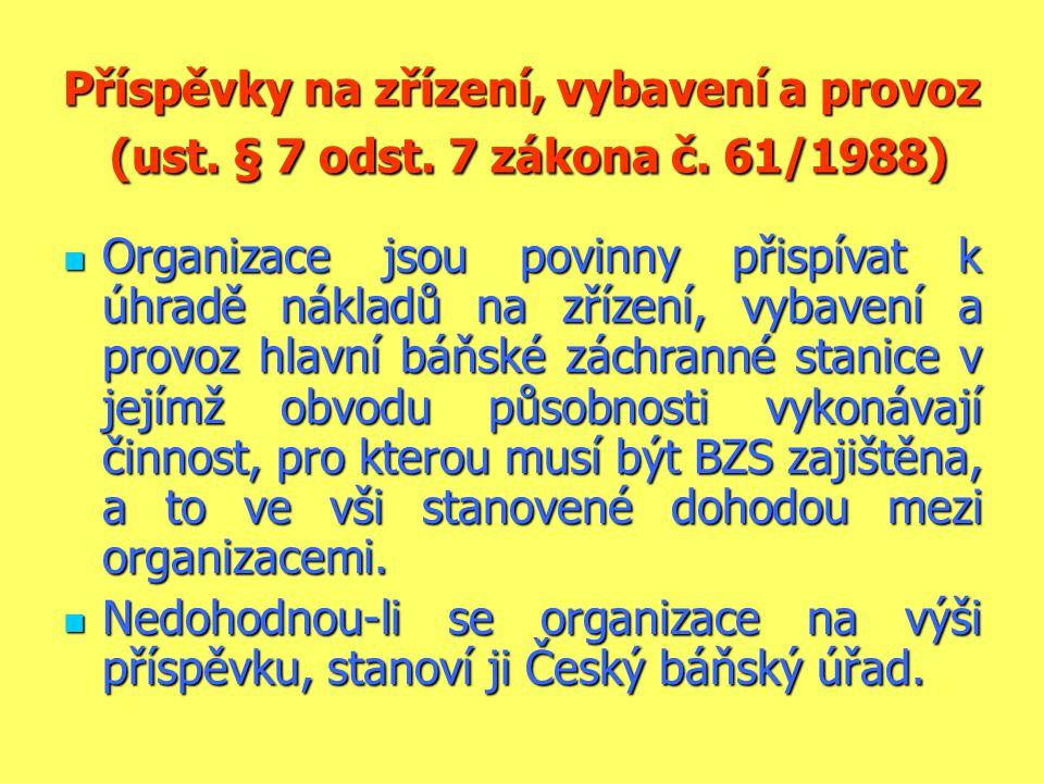 Příspěvky na zřízení, vybavení a provoz (ust. § 7 odst. 7 zákona č. 61/1988)  Organizace jsou povinny přispívat k úhradě nákladů na zřízení, vybavení