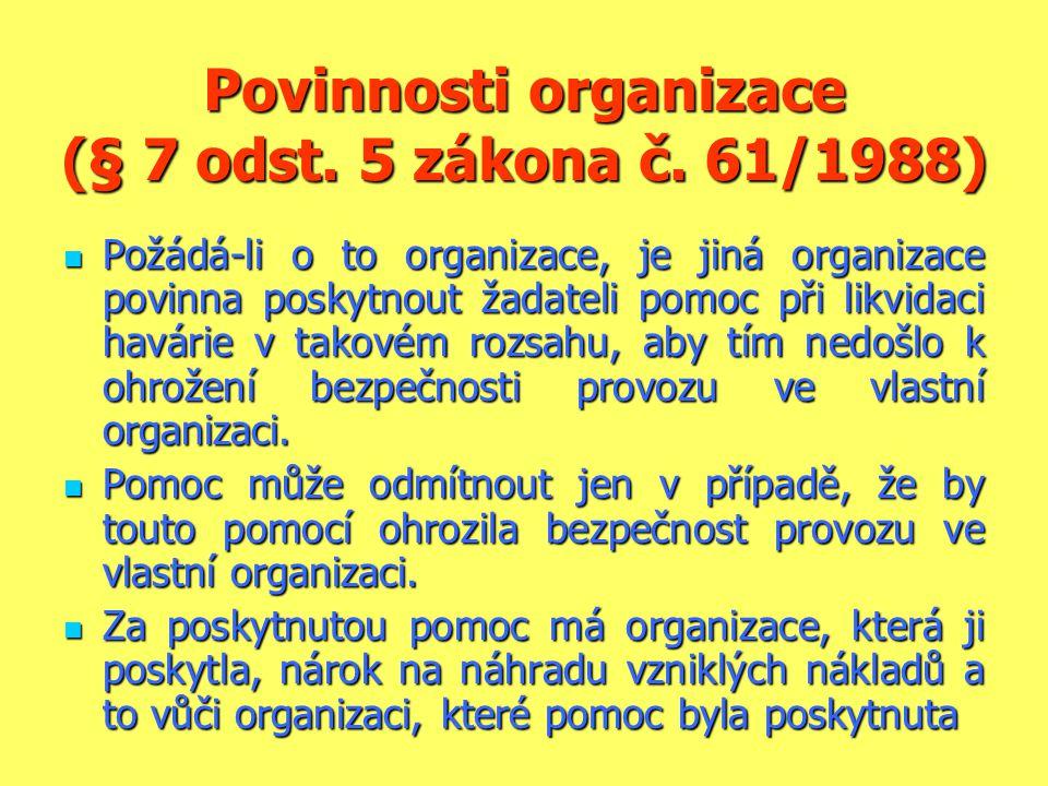Povinnosti organizace (§ 7 odst. 5 zákona č. 61/1988)  Požádá-li o to organizace, je jiná organizace povinna poskytnout žadateli pomoc při likvidaci