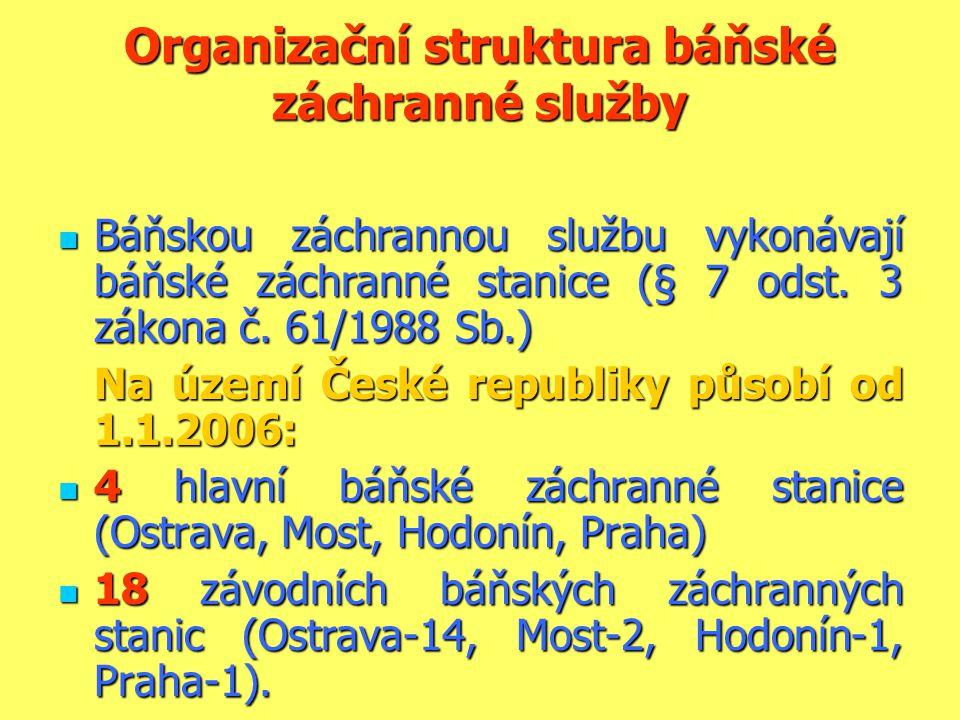 Organizační struktura báňské záchranné služby  Báňskou záchrannou službu vykonávají báňské záchranné stanice (§ 7 odst. 3 zákona č. 61/1988 Sb.) Na ú