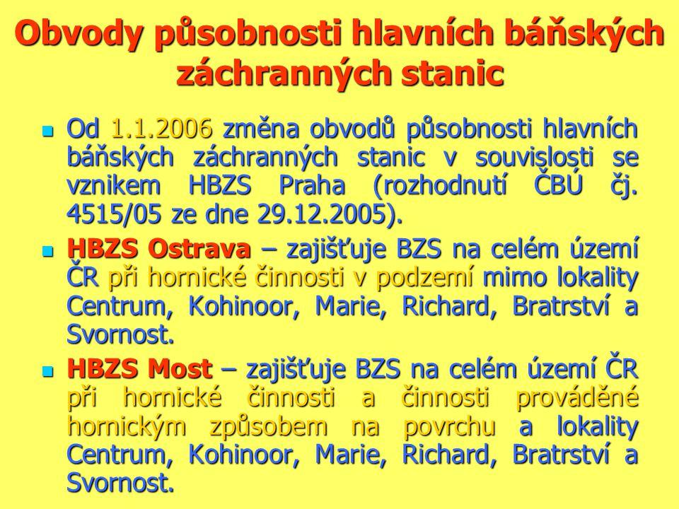 Obvody působnosti hlavních báňských záchranných stanic  Od 1.1.2006 změna obvodů působnosti hlavních báňských záchranných stanic v souvislosti se vzn