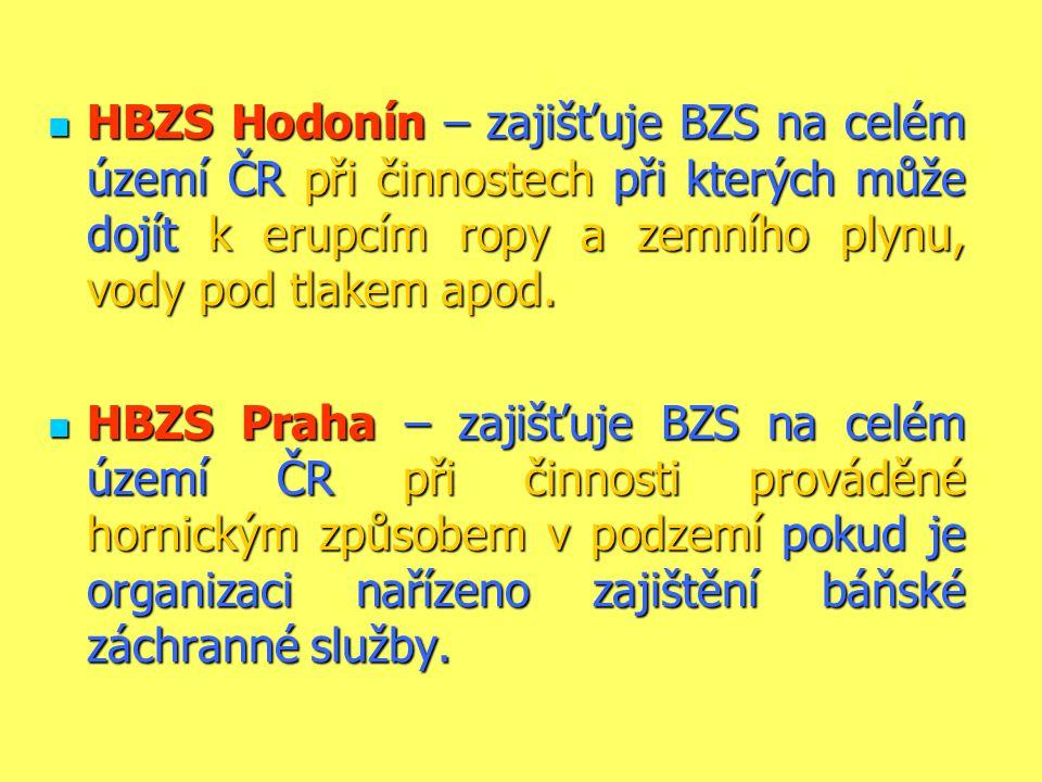 HBZS Hodonín – zajišťuje BZS na celém území ČR při činnostech při kterých může dojít k erupcím ropy a zemního plynu, vody pod tlakem apod.  HBZS Pr