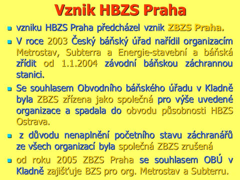 Vznik HBZS Praha  vzniku HBZS Praha předcházel vznik ZBZS Praha.  V roce 2003 Český báňský úřad nařídil organizacím Metrostav, Subterra a Energie-st