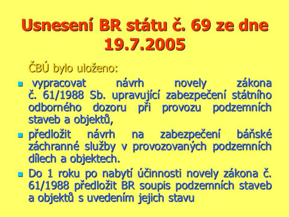 Usnesení BR státu č. 69 ze dne 19.7.2005 ČBÚ bylo uloženo:  vypracovat návrh novely zákona č. 61/1988 Sb. upravující zabezpečení státního odborného d