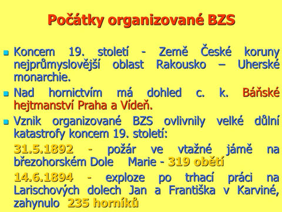 Počátky organizované BZS  Koncem 19. století - Země České koruny nejprůmyslovější oblast Rakousko – Uherské monarchie.  Nad hornictvím má dohled c.