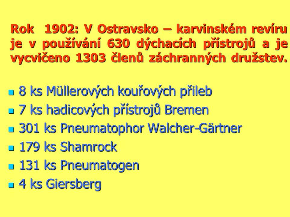 Rok 1902: V Ostravsko – karvinském revíru je v používání 630 dýchacích přístrojů a je vycvičeno 1303 členů záchranných družstev.