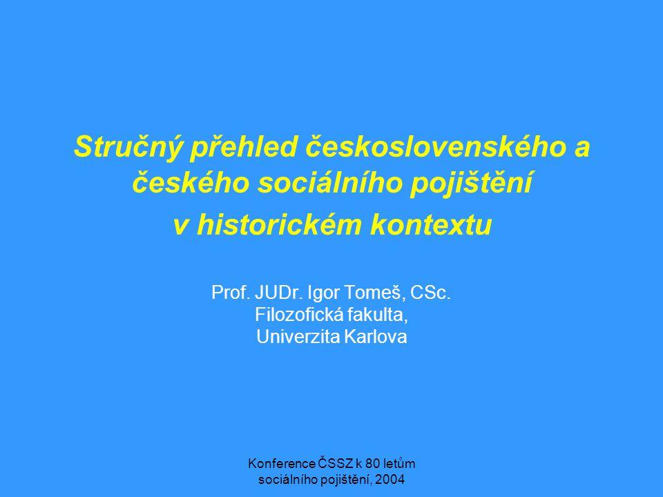 Konference ČSSZ k 80 letům sociálního pojištění, 2004 Stručný přehled československého a českého sociálního pojištění v historickém kontextu Prof. JUD