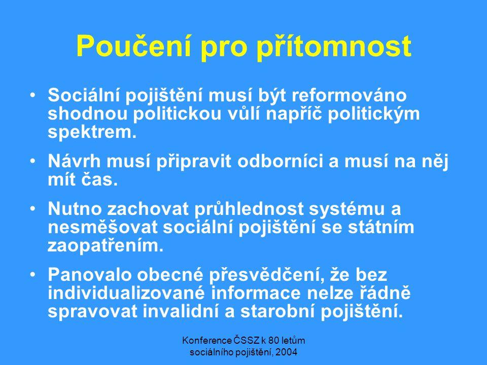 Konference ČSSZ k 80 letům sociálního pojištění, 2004 Poučení pro přítomnost •Sociální pojištění musí být reformováno shodnou politickou vůlí napříč politickým spektrem.