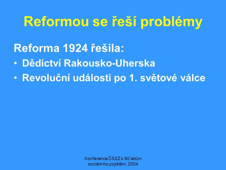 Konference ČSSZ k 80 letům sociálního pojištění, 2004 Reformou se řeší problémy Reforma 1924 řešila: •Dědictví Rakousko-Uherska •Revoluční události po
