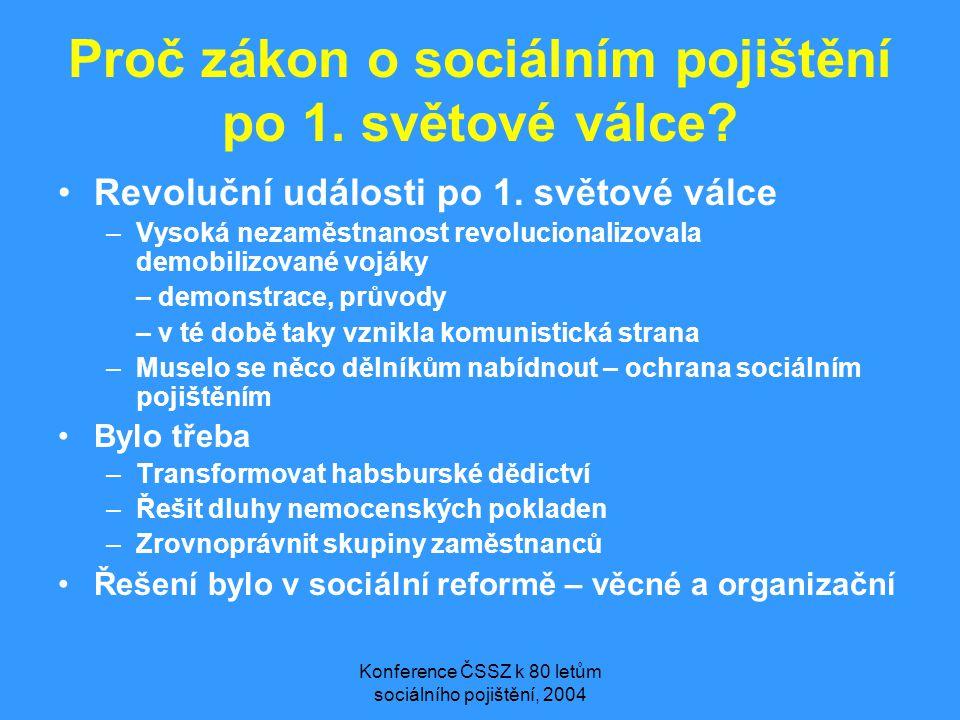 Konference ČSSZ k 80 letům sociálního pojištění, 2004 Proč zákon o sociálním pojištění po 1. světové válce? •Revoluční události po 1. světové válce –V