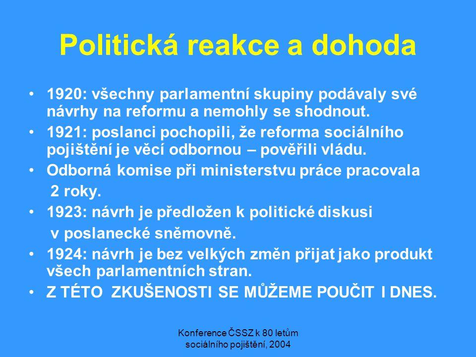 Konference ČSSZ k 80 letům sociálního pojištění, 2004 Politická reakce a dohoda •1920: všechny parlamentní skupiny podávaly své návrhy na reformu a nemohly se shodnout.