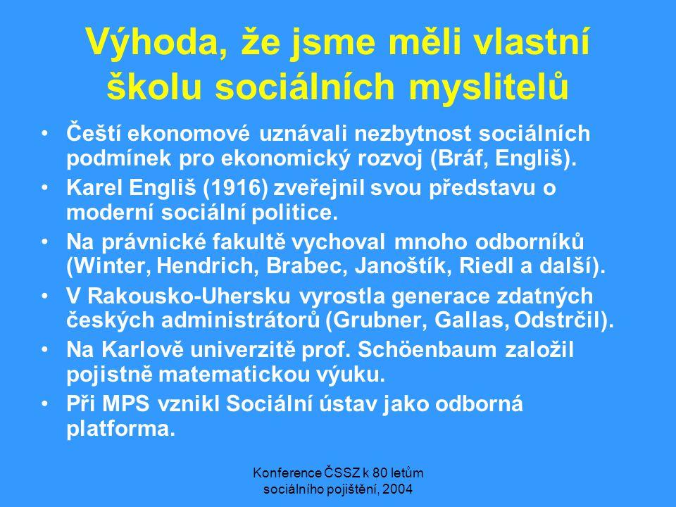 Konference ČSSZ k 80 letům sociálního pojištění, 2004 Výhoda, že jsme měli vlastní školu sociálních myslitelů •Čeští ekonomové uznávali nezbytnost soc