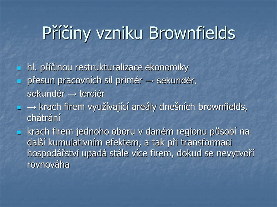 Příčiny vzniku Brownfields  hl. příčinou restrukturalizace ekonomiky  přesun pracovních sil primér → sekundér, sekundér → terciér  → krach firem vy