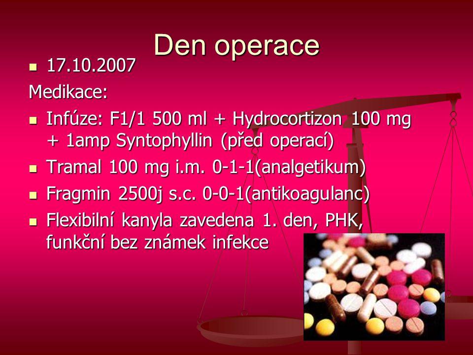 Den operace  17.10.2007 Medikace:  Infúze: F1/1 500 ml + Hydrocortizon 100 mg + 1amp Syntophyllin (před operací)  Tramal 100 mg i.m. 0-1-1(analgeti