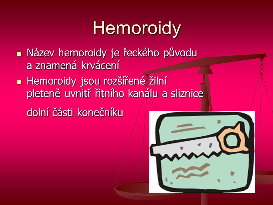 Hemoroidy  Název hemoroidy je řeckého původu a znamená krvácení  Hemoroidy jsou rozšířené žilní pleteně uvnitř řitního kanálu a sliznice dolní části konečníku