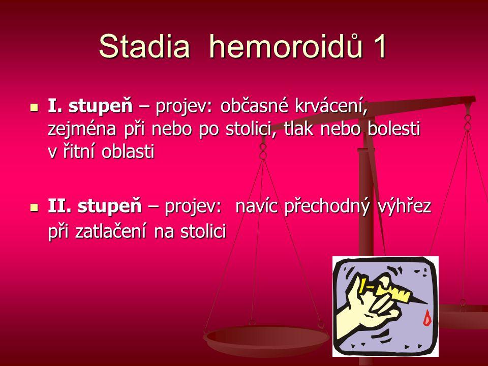 Stadia hemoroidů 1  I. stupeň – projev: občasné krvácení, zejména při nebo po stolici, tlak nebo bolesti v řitní oblasti  II. stupeň – projev: navíc