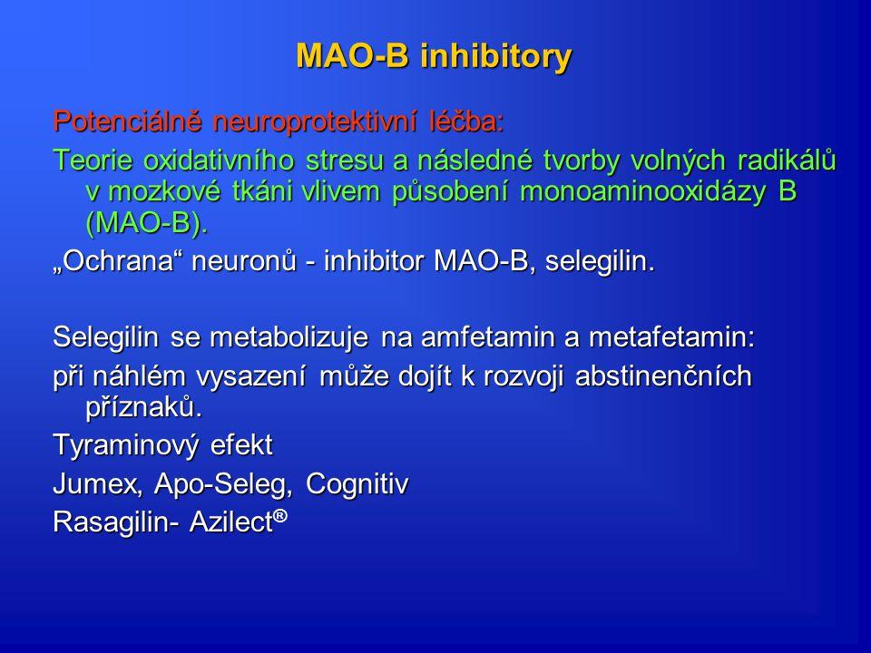 Antagonisté NMDA receptorů Teorie glutamátergní převahy adamantanové sloučeniny působící jako antagonisté NMDA receptorů. Teorie: NMDA receptory leží