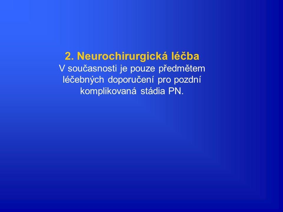 Anticholinergika Symptomatická léčba Účinek: potlačení aktivity acetylcholinu v nerovnovážném systému transmiterů v CNS. Anticholinergní terapie byla