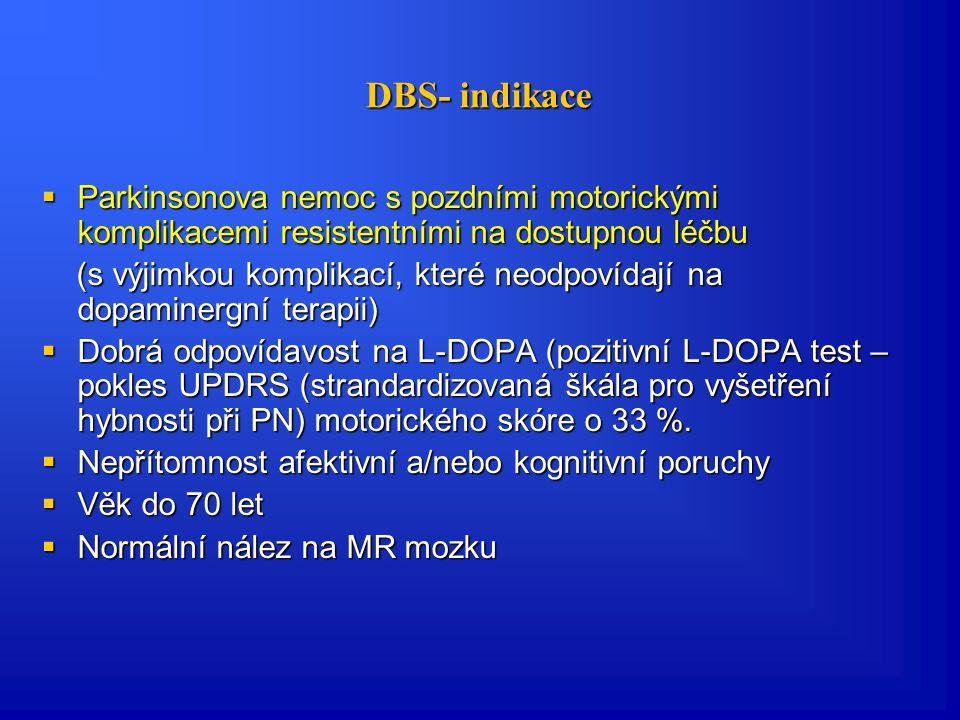 Pozdní komplikace Parkinsonovy nemoci- chirurgická léčba  Funkční stereotaktická operace:  chronická mozková stimulace (DBS)  radiofrekvenční termoléze  stereotaktická radiochirurgie pomocí gama nože  transplantace buněčné (embryonální) tkáně  Cílem stereotaktické operace mohou být:  talamus (ventrální intermediální a ventroposterolaterální jádra talamu)  pallidum (vnitřní část)  subtalamické jádro