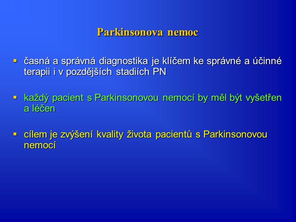 DBS- vylučující kritéria  Neodpovídavost na léčbu L-DOPA  Syndromy Parkinson plus (multisystémová atrofie, progresivní supranukleární paralýza), pos