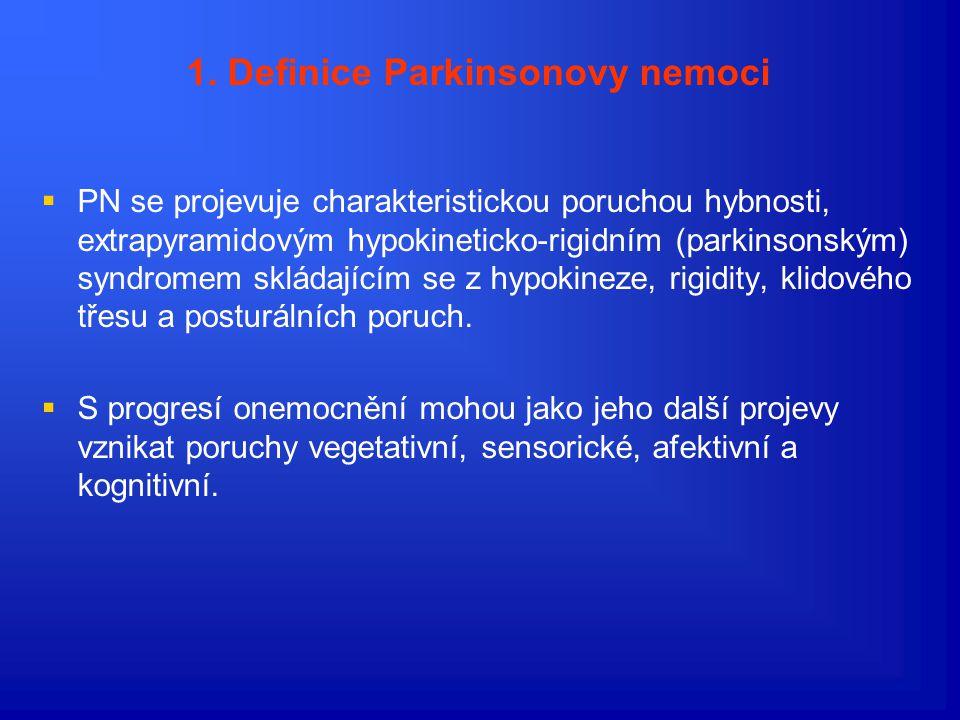 A) Definice a cíle léčby 1.Definice Parkinsonovy nemoci Parkinsonova nemoc (PN) je chronické progresivní onemocnění nervové soustavy. Vzniká na podkla