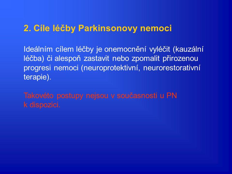 Pozdní stadium Parkinsonovy nemoci (převzato z Růžička et al., 2001) práh symptomů nástup příznaků léčba presymptomatická fáze PN (~4 r.) fáze nediag.