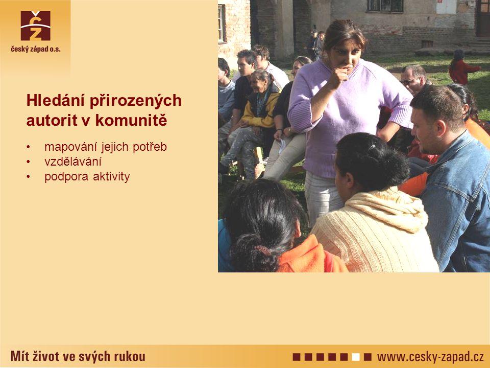 Hledání přirozených autorit v komunitě •mapování jejich potřeb •vzdělávání •podpora aktivity