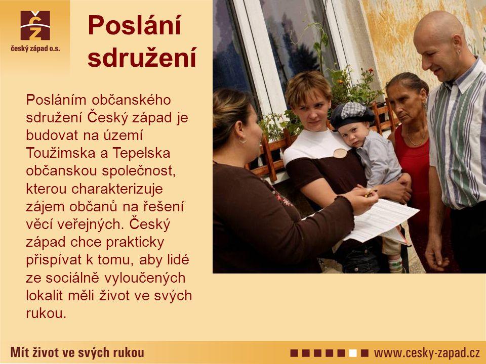 Poslání sdružení Posláním občanského sdružení Český západ je budovat na území Toužimska a Tepelska občanskou společnost, kterou charakterizuje zájem občanů na řešení věcí veřejných.