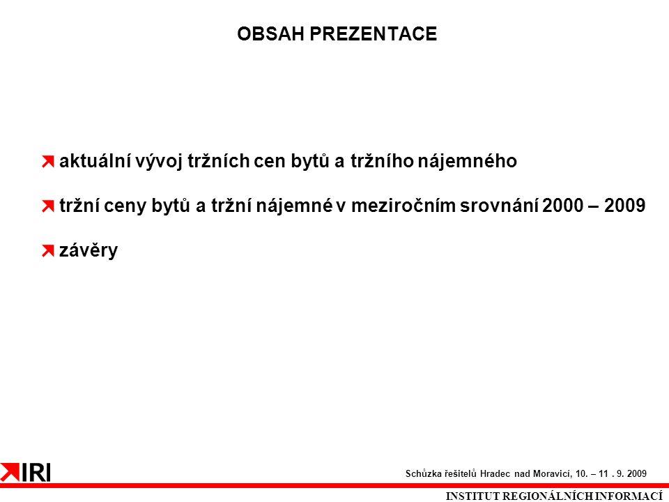 OBSAH PREZENTACE INSTITUT REGIONÁLNÍCH INFORMACÍ Schůzka řešitelů Hradec nad Moravicí, 10. – 11. 9. 2009 aktuální vývoj tržních cen bytů a tržního náj