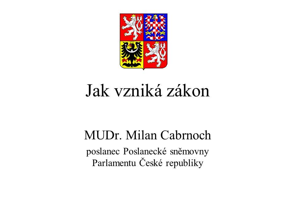 Jak vzniká zákon MUDr. Milan Cabrnoch poslanec Poslanecké sněmovny Parlamentu České republiky