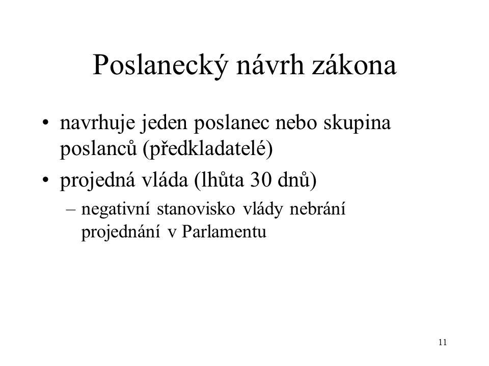 11 Poslanecký návrh zákona •navrhuje jeden poslanec nebo skupina poslanců (předkladatelé) •projedná vláda (lhůta 30 dnů) –negativní stanovisko vlády nebrání projednání v Parlamentu