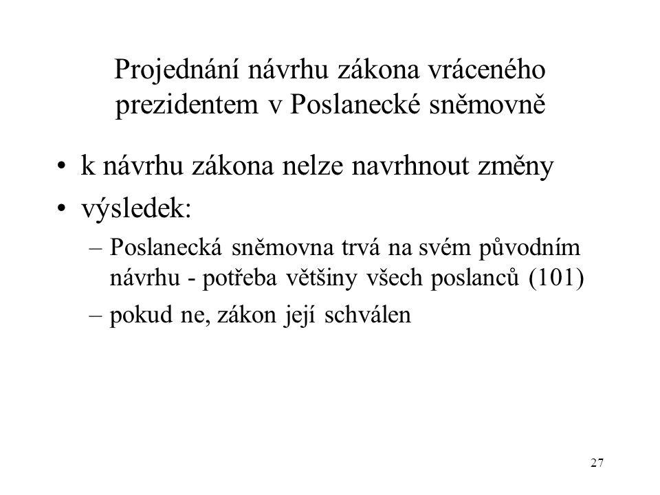27 Projednání návrhu zákona vráceného prezidentem v Poslanecké sněmovně •k návrhu zákona nelze navrhnout změny •výsledek: –Poslanecká sněmovna trvá na svém původním návrhu - potřeba většiny všech poslanců (101) –pokud ne, zákon její schválen