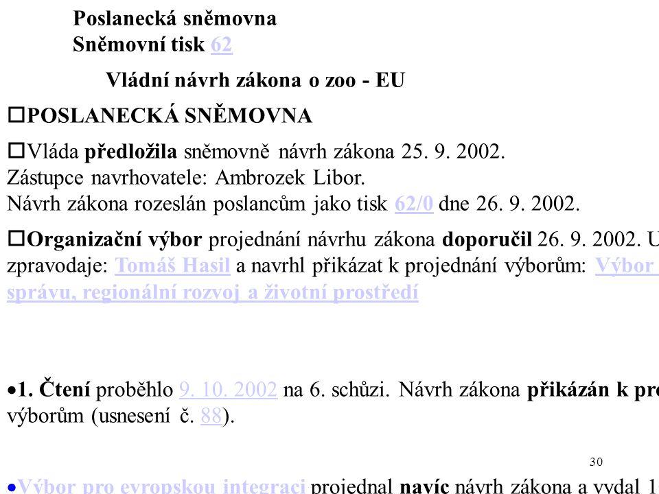 30 Poslanecká sněmovna Sněmovní tisk 6262 Vládní návrh zákona o zoo - EU  POSLANECKÁ SNĚMOVNA  Vláda předložila sněmovně návrh zákona 25.