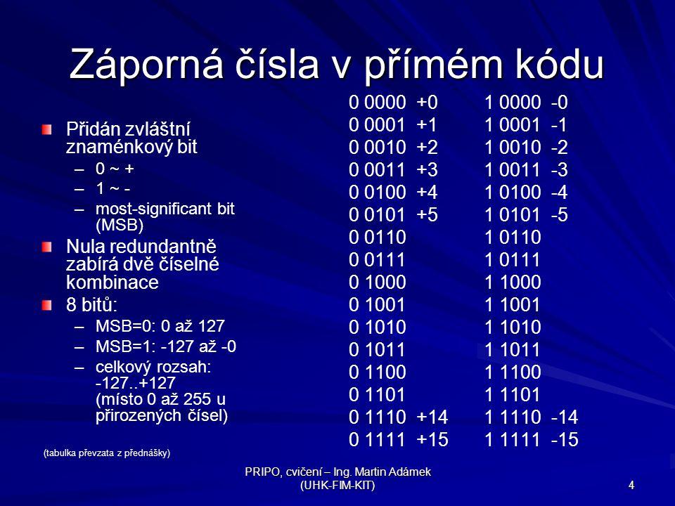 PRIPO, cvičení – Ing. Martin Adámek (UHK-FIM-KIT) 4 Záporná čísla v přímém kódu Přidán zvláštní znaménkový bit – –0 ~ + – –1 ~ - – –most-significant b