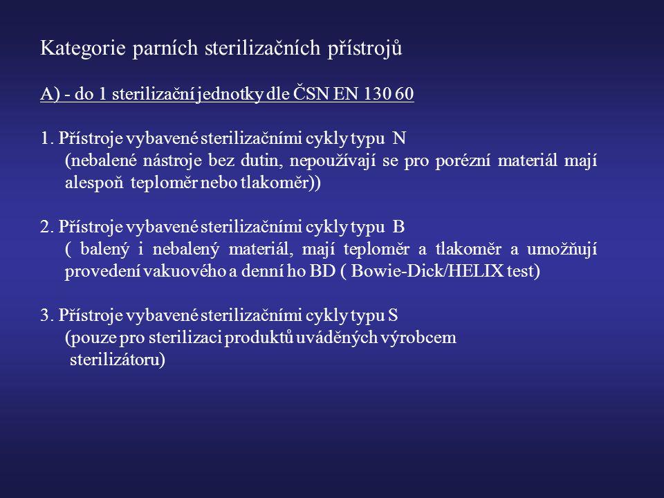 Kategorie parních sterilizačních přístrojů A) - do 1 sterilizační jednotky dle ČSN EN 130 60 1.
