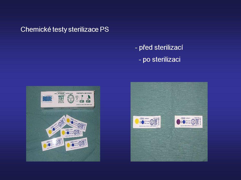 Chemické testy sterilizace PS - před sterilizací - po sterilizaci