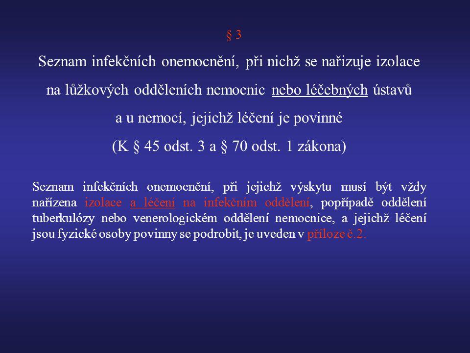 § 3 Seznam infekčních onemocnění, při nichž se nařizuje izolace na lůžkových odděleních nemocnic nebo léčebných ústavů a u nemocí, jejichž léčení je povinné (K § 45 odst.