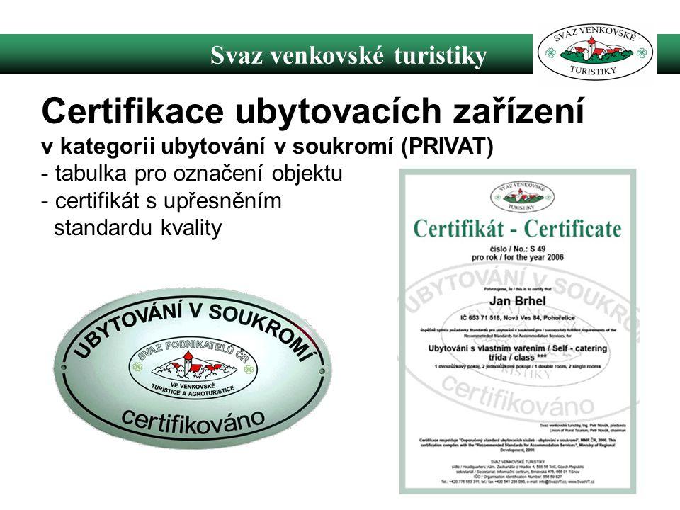 Svaz venkovské turistiky Certifikace ubytovacích zařízení v kategorii ubytování v soukromí (PRIVAT) - tabulka pro označení objektu - certifikát s upřesněním standardu kvality