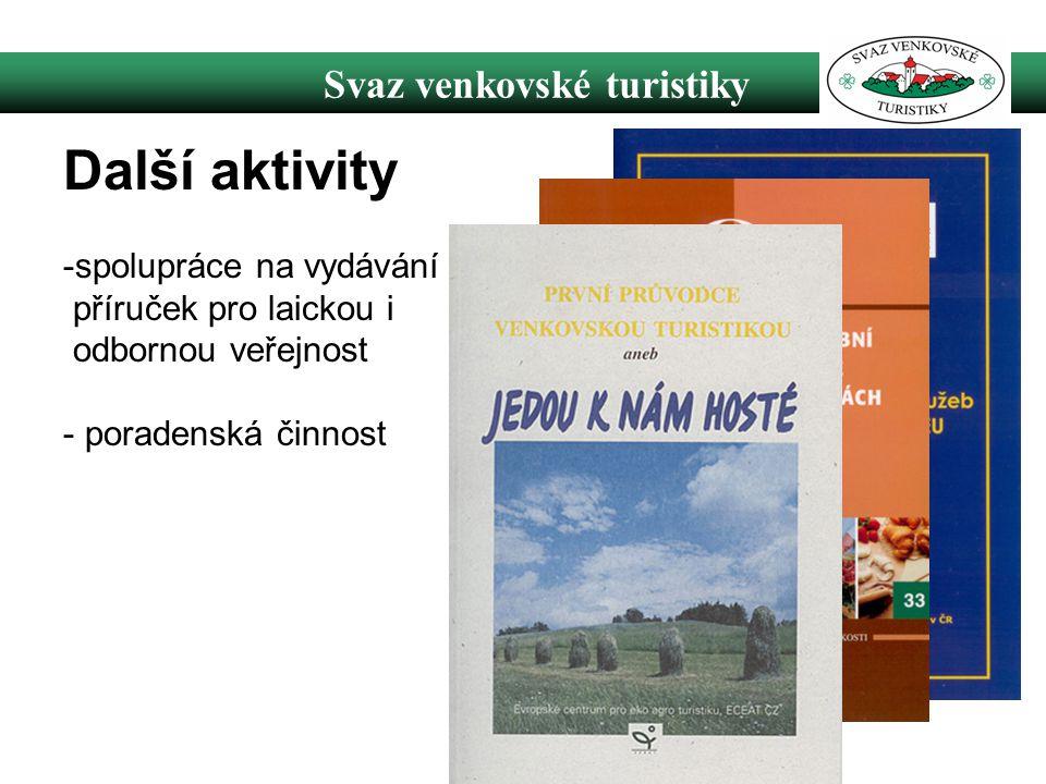 Svaz venkovské turistiky Další aktivity -spolupráce na vydávání příruček pro laickou i odbornou veřejnost - poradenská činnost