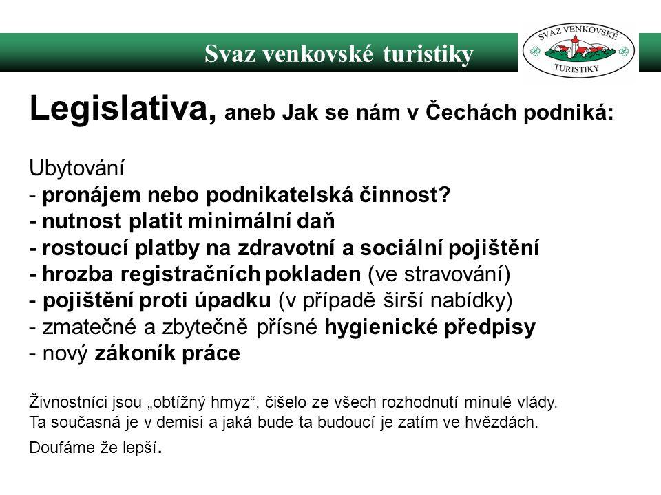 Svaz venkovské turistiky Legislativa, aneb Jak se nám v Čechách podniká: Ubytování - pronájem nebo podnikatelská činnost.
