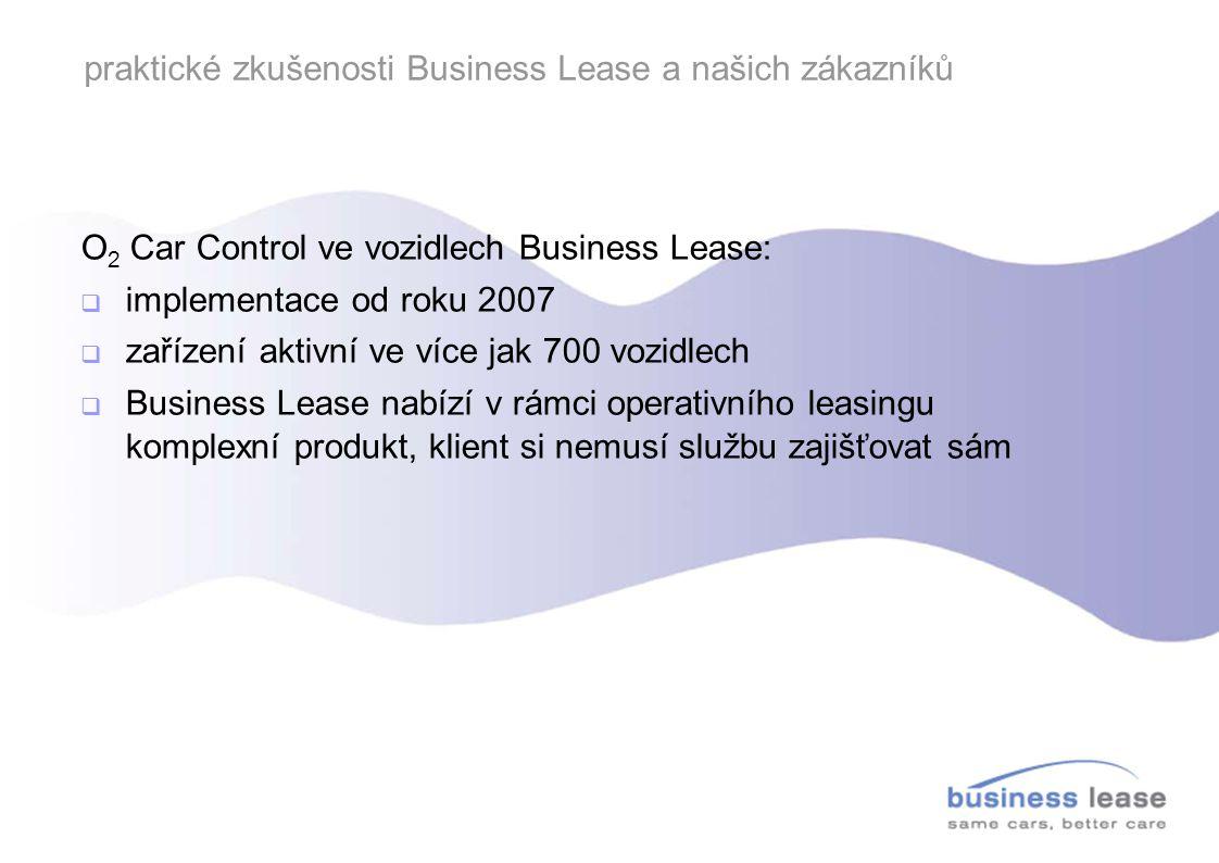 praktické zkušenosti Business Lease a našich zákazníků O 2 Car Control ve vozidlech Business Lease:  implementace od roku 2007  zařízení aktivní ve