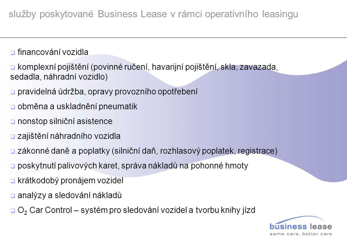 služby poskytované Business Lease v rámci operativního leasingu  financování vozidla  komplexní pojištění (povinné ručení, havarijní pojištění, skla