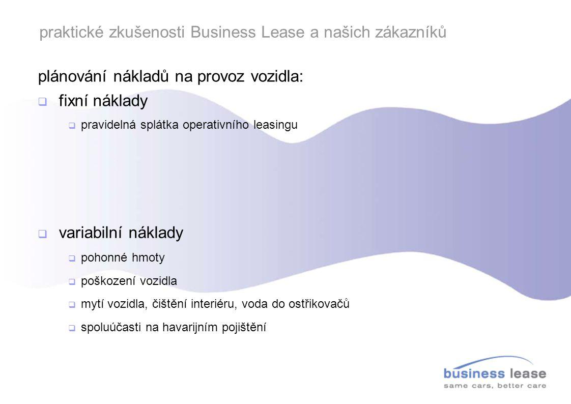 praktické zkušenosti Business Lease a našich zákazníků O 2 Car Control ve vozidlech Business Lease:  implementace od roku 2007  zařízení aktivní ve více jak 700 vozidlech  Business Lease nabízí v rámci operativního leasingu komplexní produkt, klient si nemusí službu zajišťovat sám
