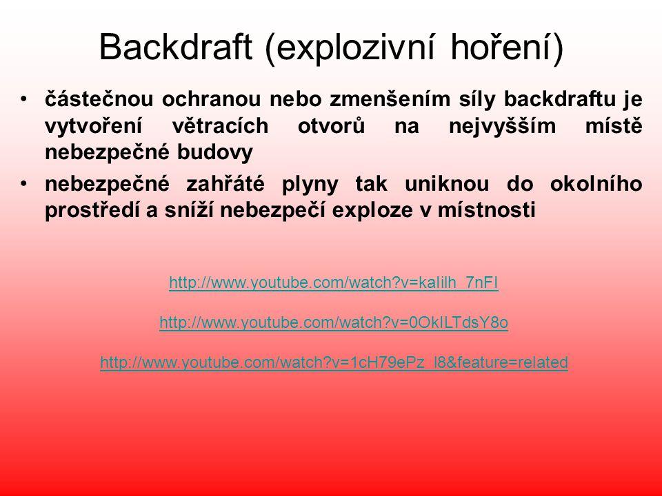 Backdraft (explozivní hoření) •částečnou ochranou nebo zmenšením síly backdraftu je vytvoření větracích otvorů na nejvyšším místě nebezpečné budovy •n