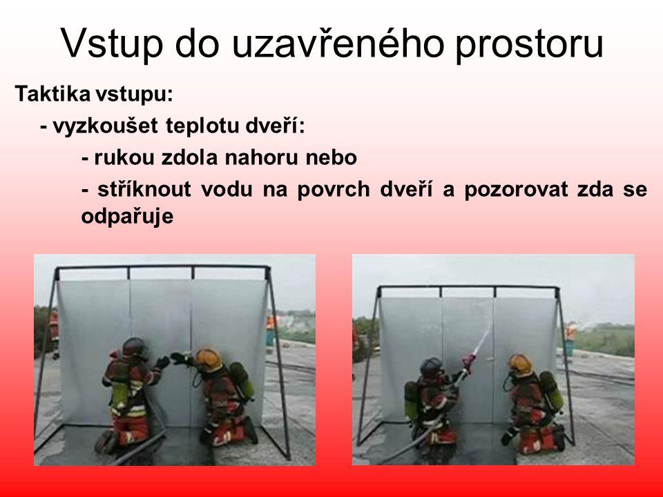 Vstup do uzavřeného prostoru Taktika vstupu: - vyzkoušet teplotu dveří: - rukou zdola nahoru nebo - stříknout vodu na povrch dveří a pozorovat zda se
