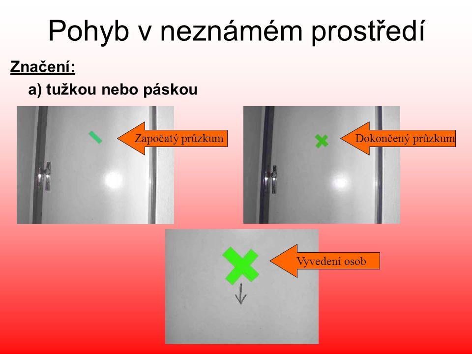 Pohyb v neznámém prostředí Značení: a) tužkou nebo páskou Započatý průzkumDokončený průzkum Vyvedení osob