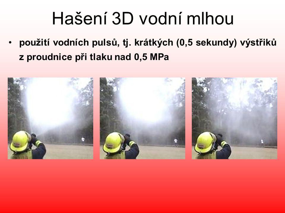 Hašení 3D vodní mlhou •použití vodních pulsů, tj. krátkých (0,5 sekundy) výstřiků z proudnice při tlaku nad 0,5 MPa