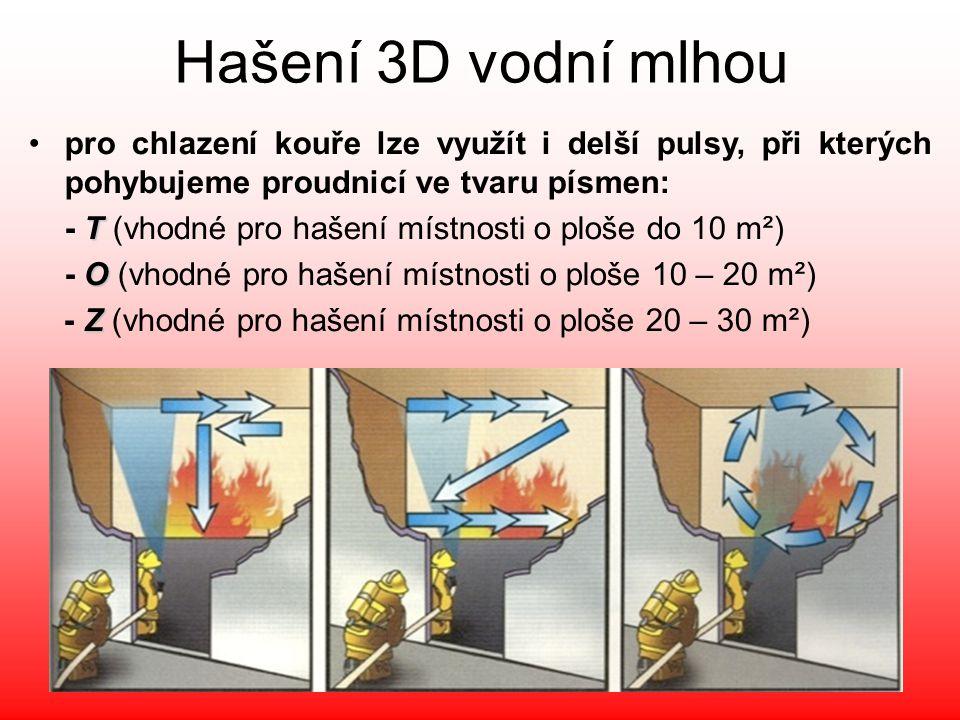 Hašení 3D vodní mlhou •pro chlazení kouře lze využít i delší pulsy, při kterých pohybujeme proudnicí ve tvaru písmen: T - T (vhodné pro hašení místnos