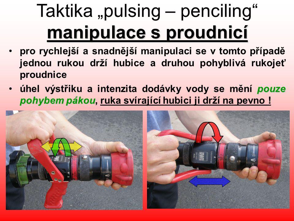 """manipulace s proudnicí Taktika """"pulsing – penciling"""" manipulace s proudnicí •pro rychlejší a snadnější manipulaci se v tomto případě jednou rukou drží"""