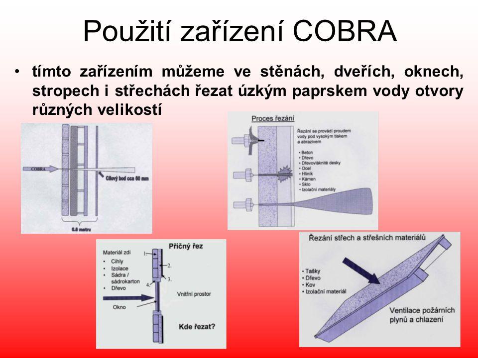 Použití zařízení COBRA •tímto zařízením můžeme ve stěnách, dveřích, oknech, stropech i střechách řezat úzkým paprskem vody otvory různých velikostí