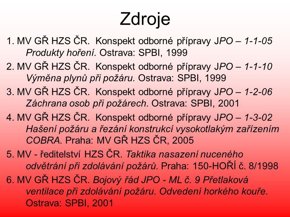 Zdroje 1. MV GŘ HZS ČR. Konspekt odborné přípravy JPO – 1-1-05 Produkty hoření. Ostrava: SPBI, 1999 2. MV GŘ HZS ČR. Konspekt odborné přípravy JPO – 1